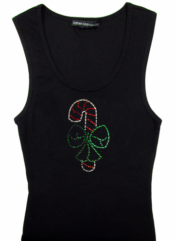 Custom Candy Cane Bow Tank Top or T-Shirt