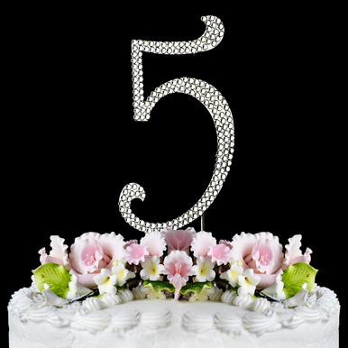 Crystal Covered Number 5 Birthday or Anniversary Cake Topper