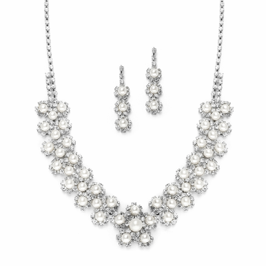 Pearl And Rhinestone Daisy Cluster Necklace Set