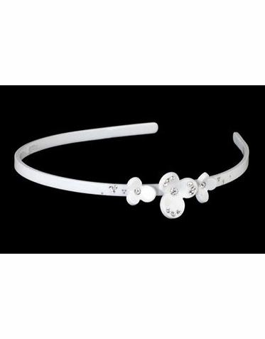 White Headband with Three Side Flowers and Rhinestones