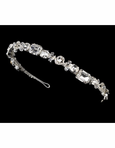Silver Headband with Large Crystals and Rhinestones