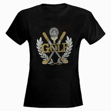 Custom Rhinestone Golf Emblem T-Shirt or Tank Top