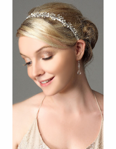 Bridal Headband Lined with Pearl And Crystal Sprays IHD005