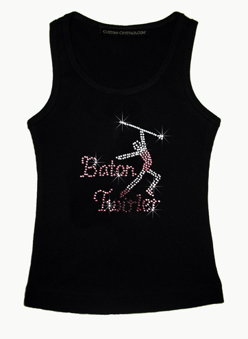 Custom Rhinestone Baton Twirler Girls' Tank Top or T-Shirt