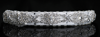 En Vogue Bridal Silver & Cystal Satin Headband HB202