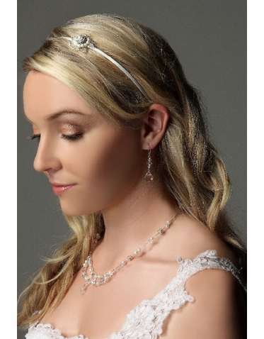 White Satin Bridal Headband With Offcentered Flower Design IHD007