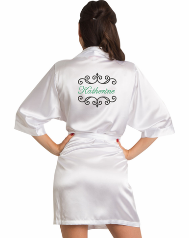 Embroidered Bridal Party Satin Robe with Scroll Frame