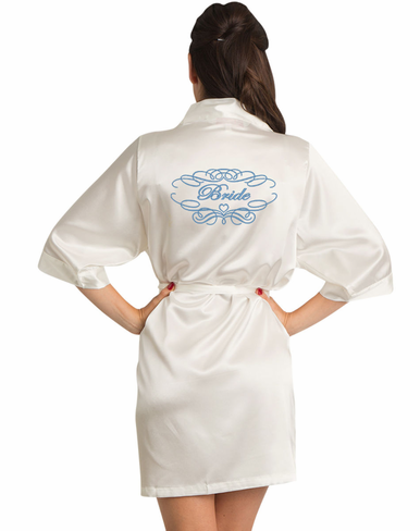 Embroidered Satin Robe with Fairytale Frame