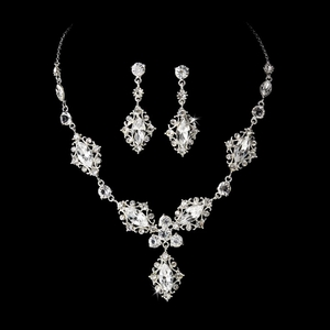 Silver Crystal Bridal Jewelry Set NE 8315