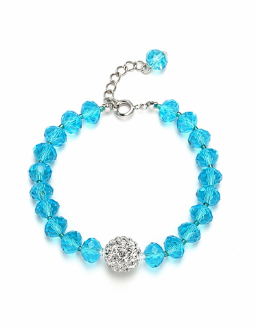 Custom Cut Glass Bead And Crystal Fireball Bracelet Available In 22 Colors