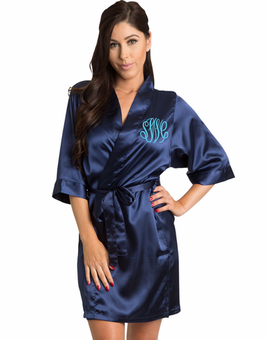 Monogrammed Bridal Party Robe with Fancy Circle Monogram
