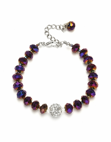 Enchanting Custom Cut Glass Bead And Crystal Fireball Bracelet  Available In 22 Colors