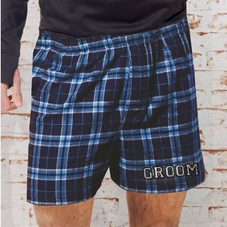 Custom Printed Plaid Flannel Groom Boxer Shorts