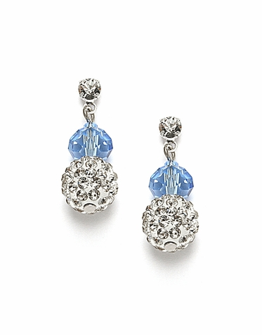 Exquisite Custom Made Cut Glass Bead And Crystal Fireball Earrings  Available In 22 Colors