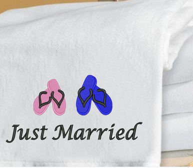 Just Married Beach Towel Embroidered with Flip Flops