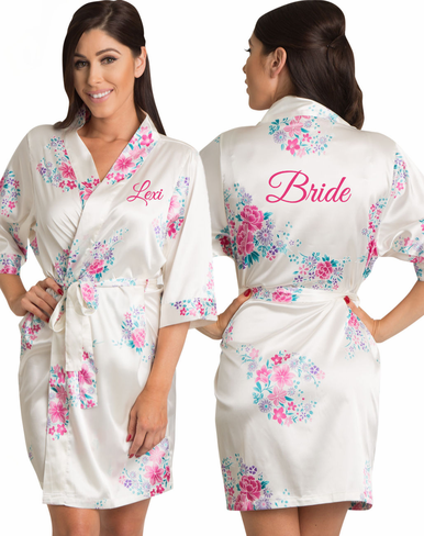 Embroidered Floral Bridal Party Robes - 5 Colors Available!
