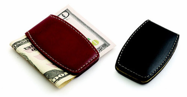 Magnetic Black Leather Money Clip