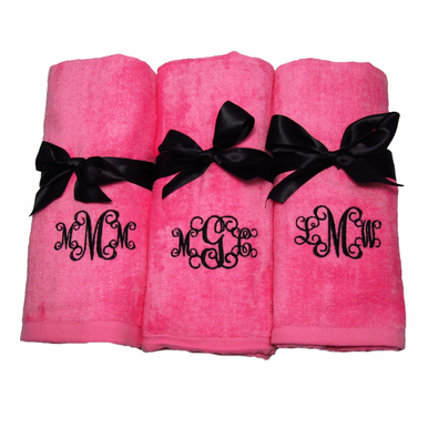 Monogrammed Beach Towel with Ribbon Tie