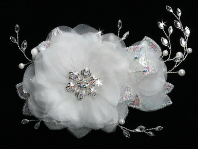 En Vogue Ivory & Iridescent Crystal Bridal Hair Flower FL402