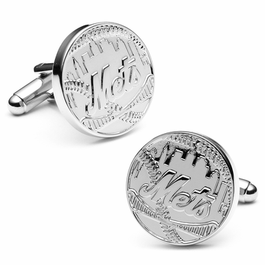 Officially Licensed Silver Edition Mets Cufflinks