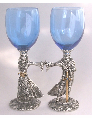 King Arthur and Guinevere Toasting Goblets