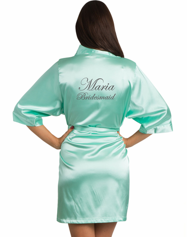 Embroidered Satin Bridesmaid Robe with Name and Title