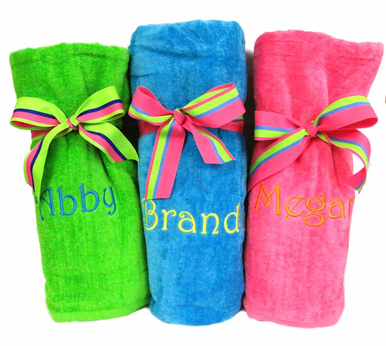 Monogrammed Beach Towels with Striped Ribbons