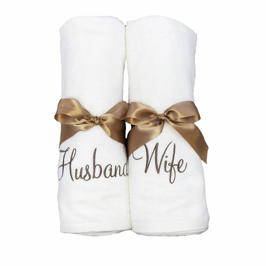 Embroidered Husband and Wife Towel Set - Many Embroidery Options Available!