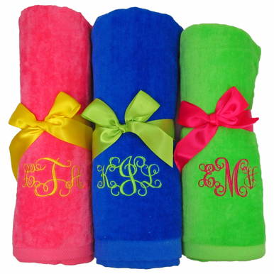 Embroidered Beach Towel with Monogram, Name or Initial Tied with Ribbon