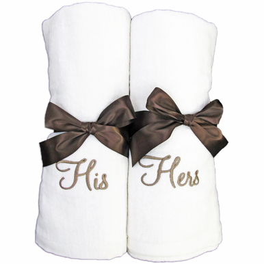 Couples Embroidered Towels - Available in Many Colors and Styles!