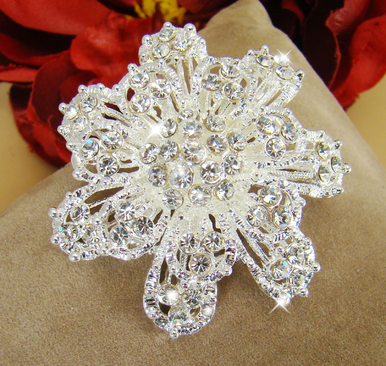 Wedding Brooch -  Floral Crystal Brooch