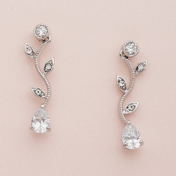Silver Vine Pattern Earrings with Clear Teardrop CZ Crystal