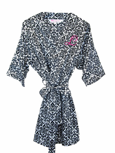 Classic Black and White Damask Embroidered Bridal Party Robe