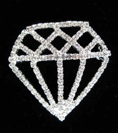 Diamond Cut-out Crystal Brooch