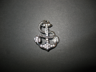 Clear Crystal Anchor Brooch