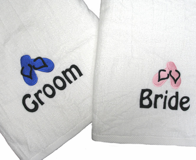 Embroidered Personalized Beach Towel with Flip Flops - Bride and Groom Beach Towel
