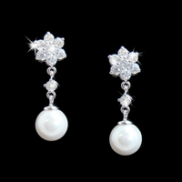 Flower Crystal and Pearl Accent Earring