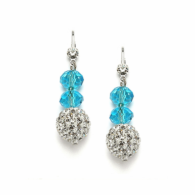 Custom Cut Glass Bead And Crystal Fireball Earrings Available In 22 Colors