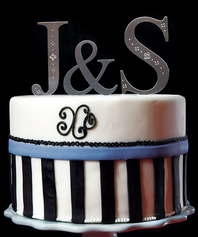 CLEARANCE: Crystal Embellished Monogram Cake Topper - 2 Letters and Ampersand