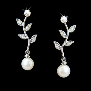 Vine Pearl and CZ Drop Earrings