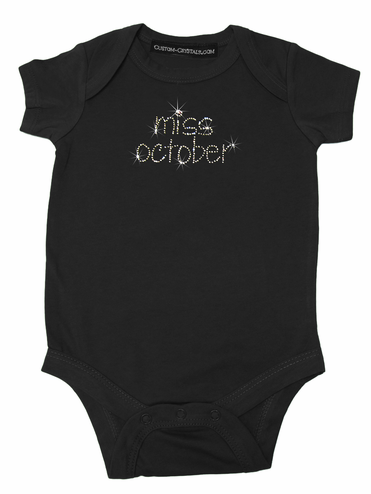 Custom Miss Month Infant One Piece Shirt with Birthstone