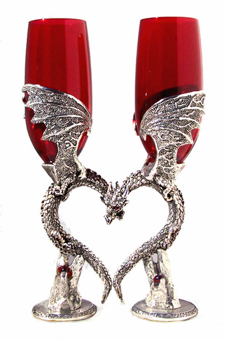 Pewter Dragon Wings Heart Flutes - Several Colors Available
