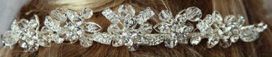 Crystal and Rhinestone Flower Tiara 7009