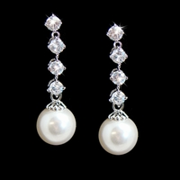 CZ Line and Pearl Earrings