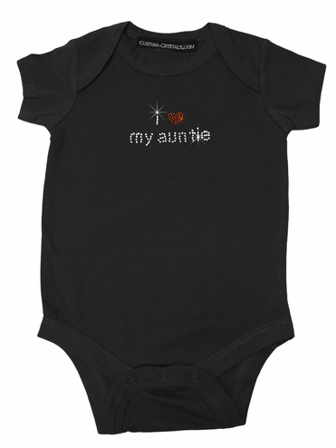 Custom I Heart My Auntie Rhinestone Baby One Piece T-Shirt
