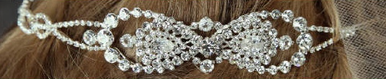 Double Band with Rhinestone Bow Accent 7040