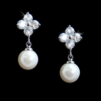 CZ Flower with Pearl Drop Earring