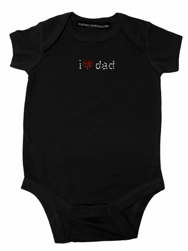 Custom I Heart Dad Rhinestone Infant One Piece T-Shirt