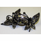 Black Crystal Hair Clip with Butterflies