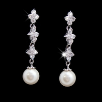 Floral Dangle Earrings with Pearl Accent